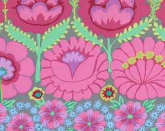 Kaffe Fassett Fabric, Artisan Embroidered Flower Border Pink, Woodland Baby Quilt Fabric, Nature Inspired, Pink Cotton Fabric by the Yard