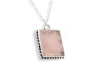 Sterling Silver Bezel Set Square Genuine Polished Rose Quartz Stone