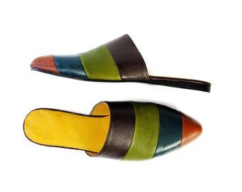 WILKE 4 Tones Flat Mules. Flat Shoes, Pointed toe Flats, Leather flats, Mules.