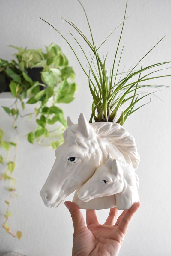 vintage white ceramic horse head vase / sculpture figurine / flower planter