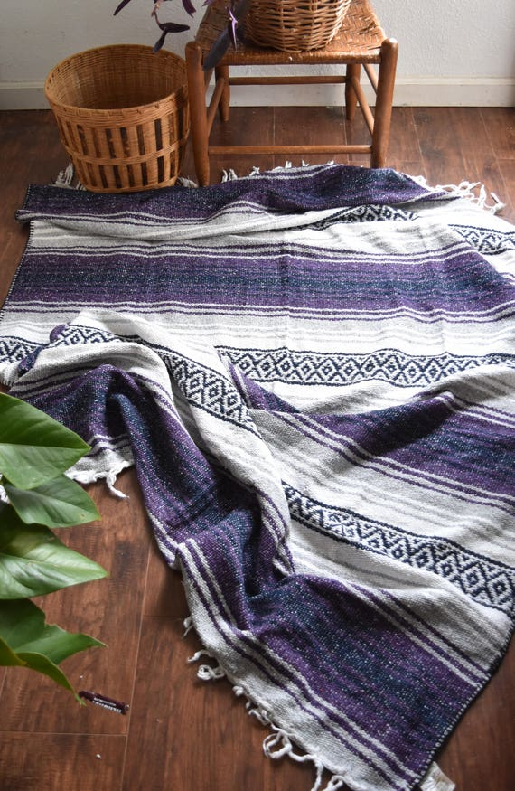 purple woven striped mexican fringe blanket throw / area rug / twin size bed