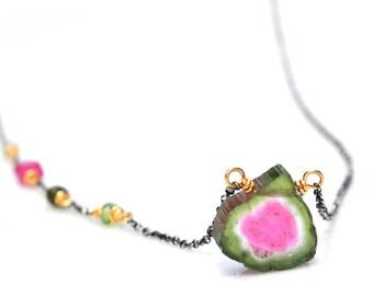 Watermelon Tourmaline Necklace, Luxe Pink & Green Watermelon Tourmaline Slice Pendant, Boho Mixed Metal Tourmaline Crystal Necklace