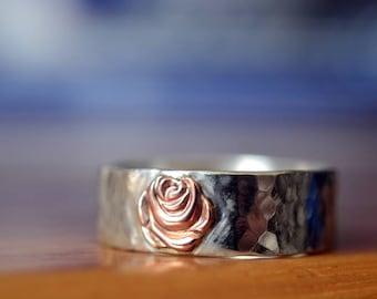 14k Rose Gold Flower Wedding Ring, Pink Gold Rose Charm, Engravable Sterling Silver Engagement Band, Men's Custom Engraved Jewelry