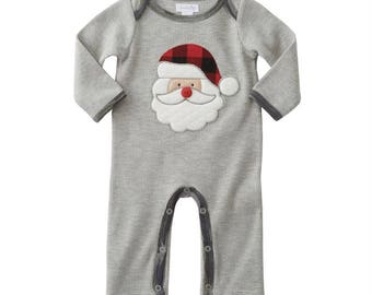 Boys Christmas Outfit, personalized boys clothing, buffalo check, Santa romper, winter outfit, boys clothing, baby shower gift