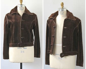 Vintage 70s Jacket | North Beach Leather Style Jacket | Brown Suede Cropped Jacket | Artisan, Boho, Hippie | Mens Size Small