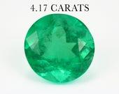 CHRISTINA Loose Emerald Natural Gemstone Colombia 4.17ct 100% diamond round cut Engagement jewelry, Round Cut Emerald, Round Shape Emerald
