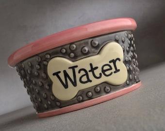"Dog Bowl Single Ready To Ship 6"" Dottie Water Bowl by Symmetrical Pottery"