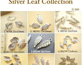 120 Mix 9 Pattern Leat Charm Pendant Finding Antiqued Silver Tone C-300