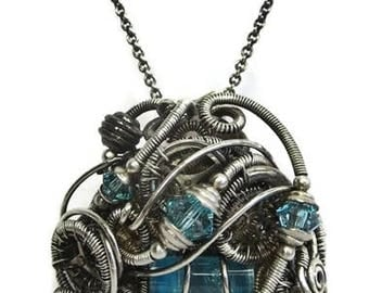 Blue Spirit Level Steampunk Pendant in Antiqued Sterling Silver with Swarovski Crystal and Watch Gears/Parts