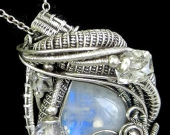 Rainbow Moonstone and Antiqued Sterling Silver Wire-Wrapped Pendant with Herkimer Diamonds