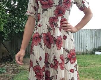 Vintage 60s Dress - Cream Floral Dress - Vintage Poppy Dress - Vintage Floral Dress - Vintage Dress UK - 60s Dress