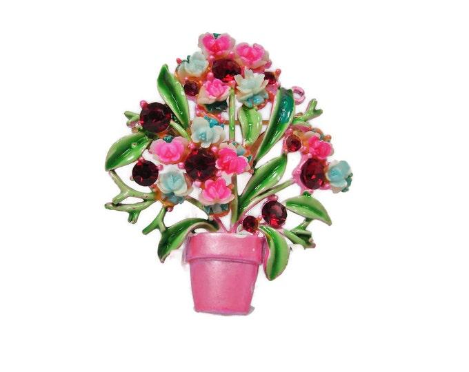 Vintage Pink Flower Pot Enamel Rhinestone Brooch