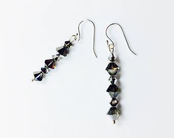 Swarovski Crystal Volcano earrings, sterling silver, gift for her, under 20