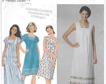 Simplicity 8769 Misses 90s Petite Gathered Dress Sewing Pattern Size 14, 16, 18. Bust 36, 38, 40.