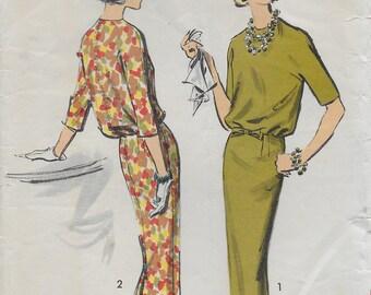 Advance 8710 Misses '50s One-Piece Blouson Dress Sewing Pattern Junior Size 9 Bust 30 1/2