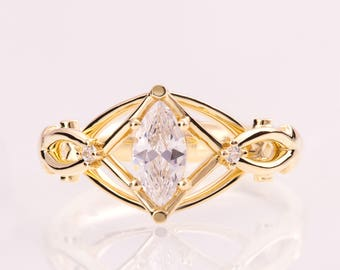 Celtic Engagement Ring, Marquise Cut engagement ring, Marquise diamond ring, unique engagement ring, Knot ring, solitaire ring, ENG9