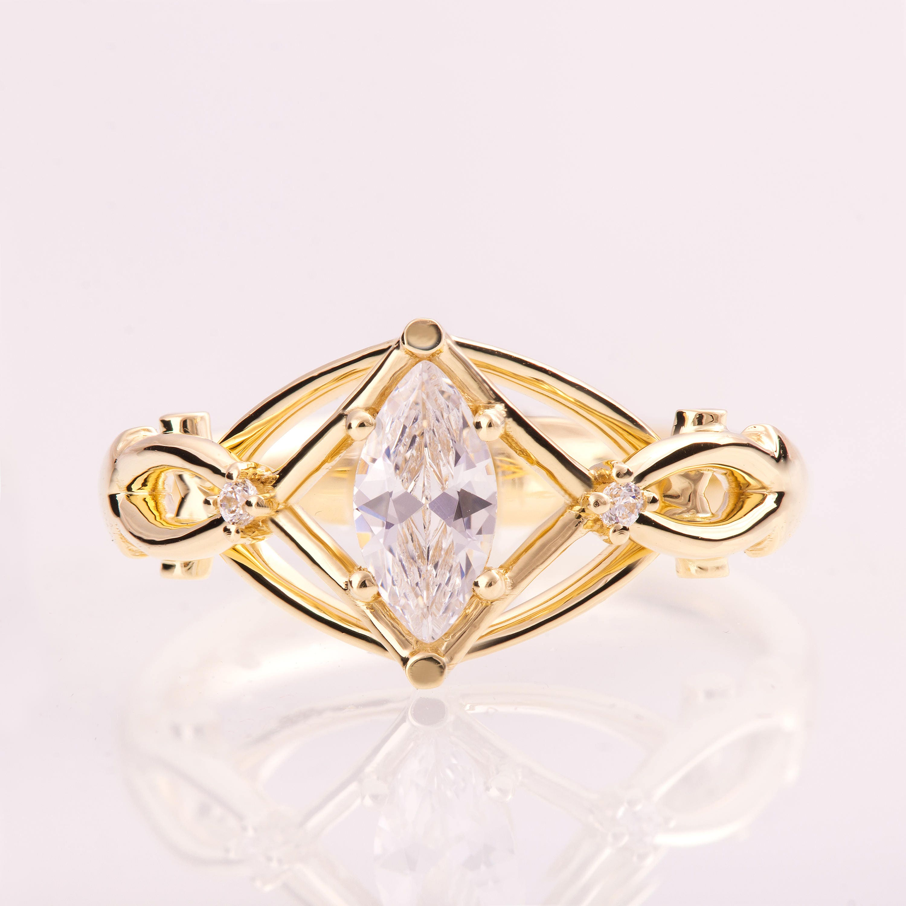 Celtic Engagement Ring Marquise Cut engagement ring Marquise