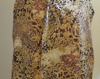Adult Clothing Protector, Dining Scarf, Shirt Saver - Sheer Cheetah Leopard floral paisley dinner scarf sequins
