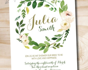Watercolor Floral Wreath Bridal Shower Invitation, Foliage, Floral, Romantic, Olive Green and Soft Pink, Bridal Shower Invite