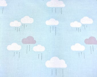Clouds fabric, Baby blue raining clouds fabric by Riley Blake 100% cotton for Quilting and general sewing projects.