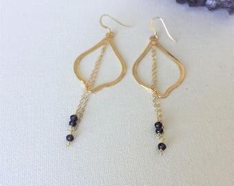 Gold & Amethyst Earrings, Gold Teardrop Hoop Earrings, Amethyst Chain Dangle Earrings, Delicate Gold Earrings by Indira Boheme