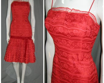 1950's LILLI DIAMOND Sexy Red Lace Mermaid Hem Wiggle Dress Cocktail Designer Bombshell  25 waist Rockabilly Vlv