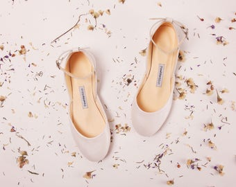 The Mary Janes in Pearl Ivory | Flat Wedding Ballet Flats | Wedding Accessories | Bridal Shoes in Pearl Ivory | Made to Order