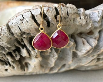 Ruby Earrings, Gold Ruby Earrings, Gold Ruby Tear Drop Earrings, Ruby Tear Drop Earrings, Gold Ruby Tear Drop, Ruby Tear Drop, Ruby