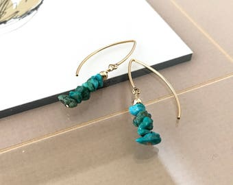 Gold Raw Turquoise Earrings