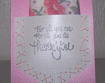 Keepsake hankie with thank you card. Small thank you gift with embroidered hankie with floral print. Keepsake gift with hankie and card.