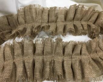 Burlap Ruffle Ribbon, Wide Ruffle Ribbon, Embellishing, Wedding DIY, Crafting Supplies