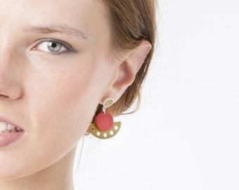 Geometric ethnic earrings, dangle earrings, boho earrings, minimal earrings, statement summer earrings, green red earrings, cute jewelry