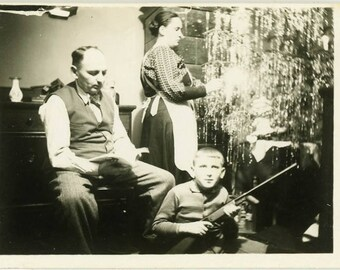 "Vintage Photo ""Santa Forgot the Bullets"" Snapshot Antique Black White Photograph Found Paper Ephemera Vernacular Interior Design Mood - 145"