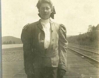 "Vintage Photo ""Waiting for the 4pm Train"" Snapshot Antique Black White Photograph Found Paper Ephemera Vernacular Interior Design Mood - 83"