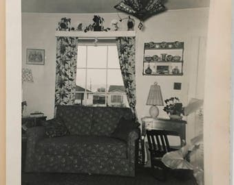 "Vintage Photo ""Cozy Living Room"" Snapshot Antique Black & White Photograph Paper Found Ephemera Vernacular Interior Design Mood - 63"