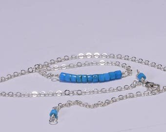 Sleeping Beauty Turquoise  Necklace Bar Necklace, Turquoise Jewelry, Handmade Jewelry Gemstone Bar Necklace Sterling Silver wrapped necklace