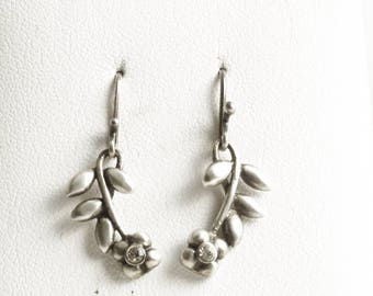 Leaf and Flower Earrings, Vintage Earrings, Sterling Silver Earrings, Small White Crystals, Gift for Her, 925 Vintage Lover Gift, (V6869)