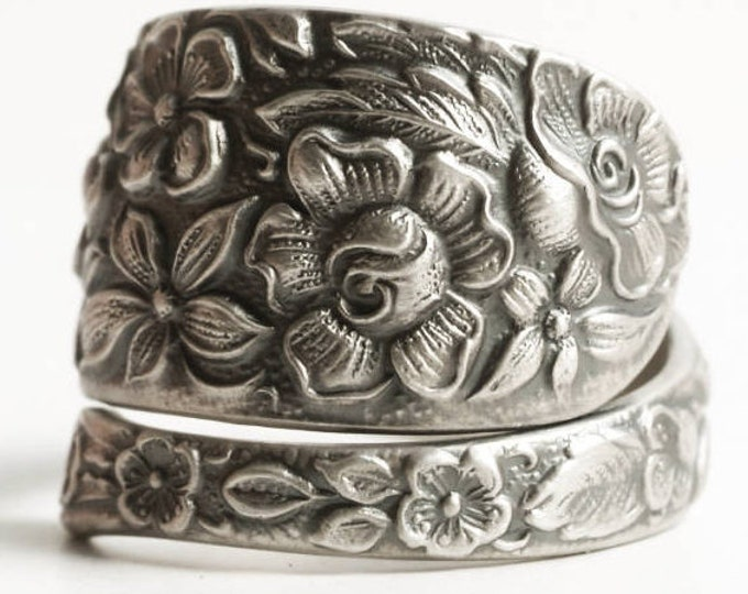 Southern Rose Ring, Sterling Silver Spoon Ring, Antique Manchester ca 1910, Floral Wild Rose, Handmade Gift Her, Adjustable Ring, 925 (6870)