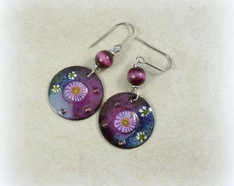 Artisan Boho Purple Earrings, Two Tone Purple Earrings - Artisan Charms and Beads, Round Enamel Charm Earrings with Enameled Beads