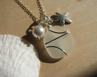 White Sea Glass Wire Wrapped Starfish Necklace Natural Beach Glass Jewelry