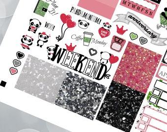 Panda Pandemonium Weekly Planner Stickers Digital Planner Kit Sticker Mambi Happy Planner Classic Vertical Instant Download