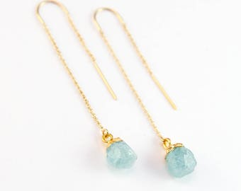 Raw Aquamarine Earring Threaders, Aquamarine Earrings Wedding, March Birthstone Threader Earring, Stone Drop, Bridesmaid Gift, Birthday Gift