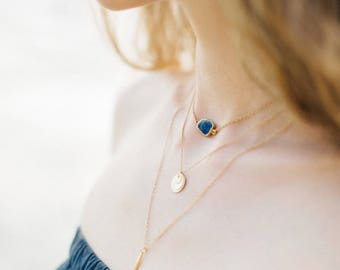 Dainty Gemstone Slice Necklace, 14k Gold Filled Layering Necklace, Lapis Lazuli Gemstone Choker, Bridesmaid Gift, Gift for Her, Boho Chic