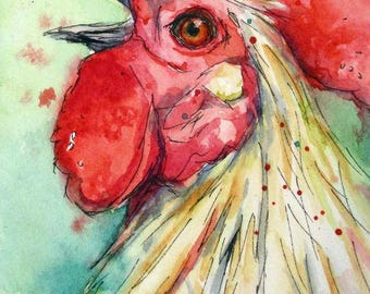 "WAKE Up CALL Original Rooster Watercolor ACEO 2.5"" X 3.5"""