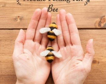 Needle Felting Kit - Make Your Own Bee - For Beginners - Learn a New Craft - DIY Craft Kit - Tutorial - Bee Pattern