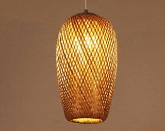 Rattan chandelier etsy rattan woven lamp aloadofball Images