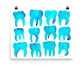 Turquoise Molar Pattern / Art Print of Watercolor Painting