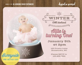 Photo snow globe birthday party invitation, winter wonderland party, first 1st birthday invite, boy or girl, printable printed invitations