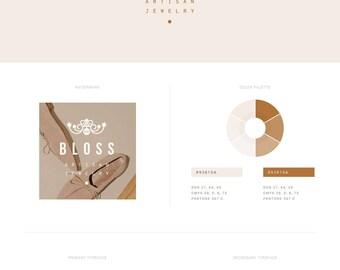 Jewelry Branding Kit — Modern Logo Design — Premade Branding Package — Wedding Logo — Small Business Branding — Feminine Watermark // Bloss