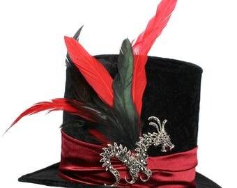 Tall Black Top Hat Gothic Dragon Steampunk Victorian Gentlemens Dapper Cosplay Mens Red